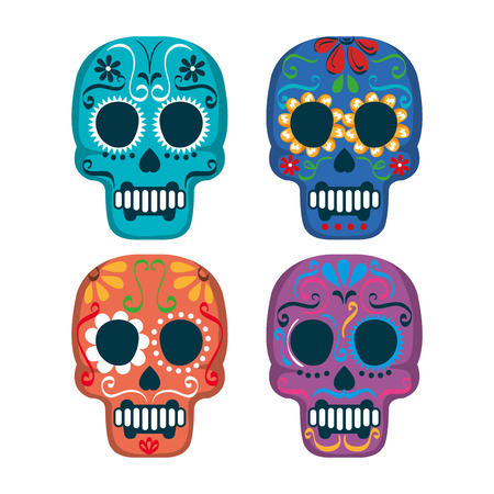mexican culture set skull mask vector illustration design
