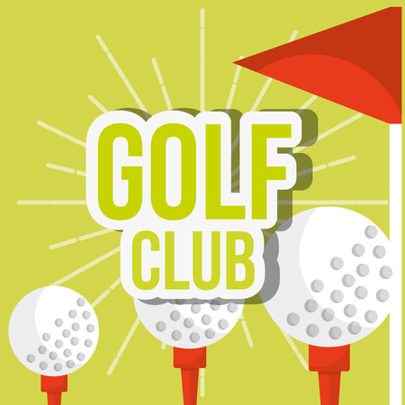 golf club three ball on tee red flag vector illustration vector illustration