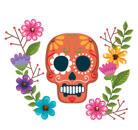 day of the dead mask with floral decoration vector illustration