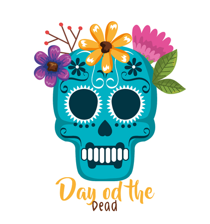 day of the dead mask with floral decoration vector illustration Foto de archivo - 111977324