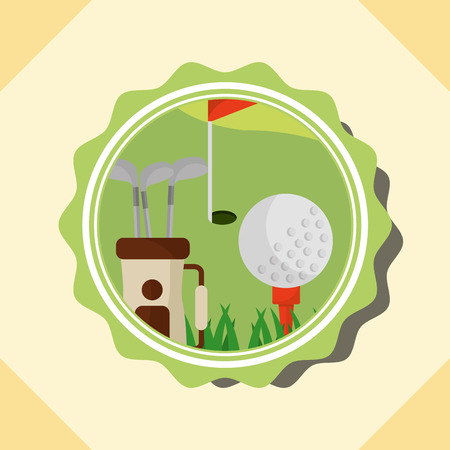 golf clubs in bag ball red flag label vector illustration vector illustration Vectores