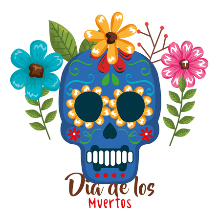 day of the dead mask with floral decoration vector illustration Archivio Fotografico - 111977327