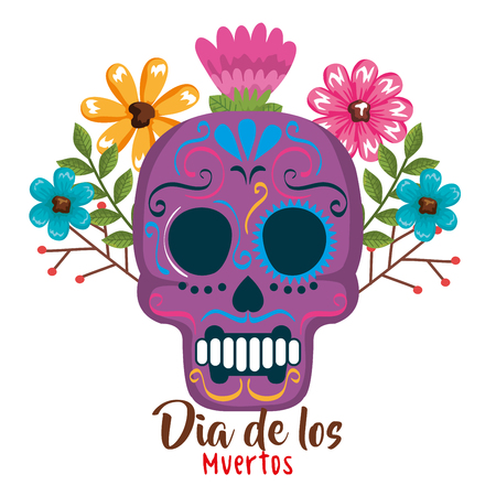 day of the dead mask with floral decoration vector illustration Archivio Fotografico - 111977330