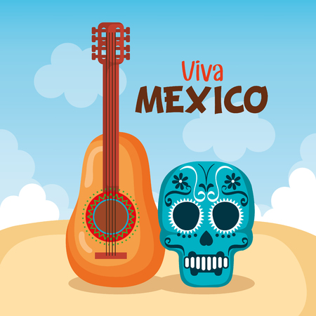 day of the dead mask with guitar vector illustration