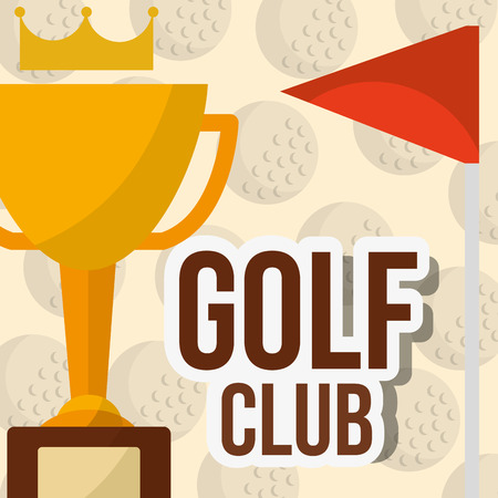 trophy golf club red flag balls background poster vector illustration vector illustration