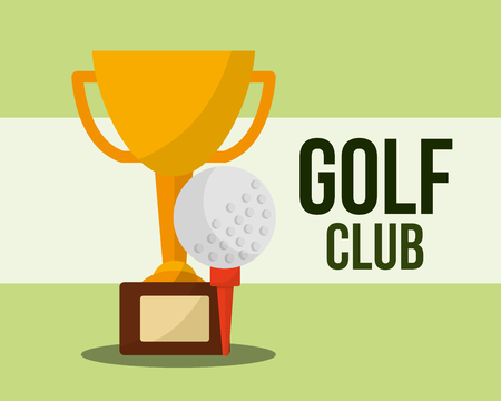 trophy and ball golf club sport vector illustration vector illustration