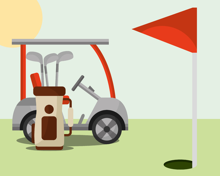 golf club bag red flag hole field vector illustration vector illustration