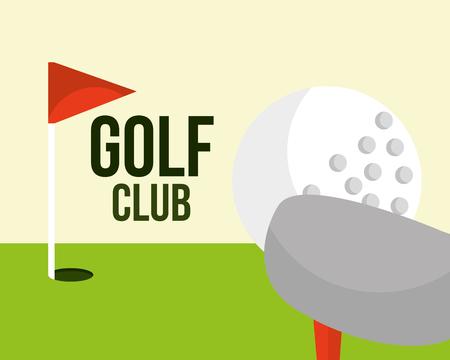 golf club ball and red flag field sport vector illustration vector illustration