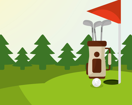golf bag ball red flag trees in the field vector illustration vector illustration