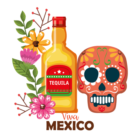 day of the dead mask with tequila bottle vector illustration