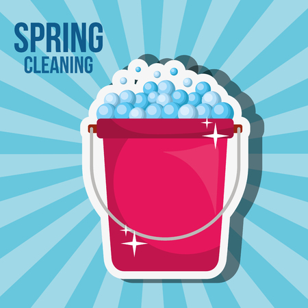 bucket bubbles tool spring cleaning vector illustration