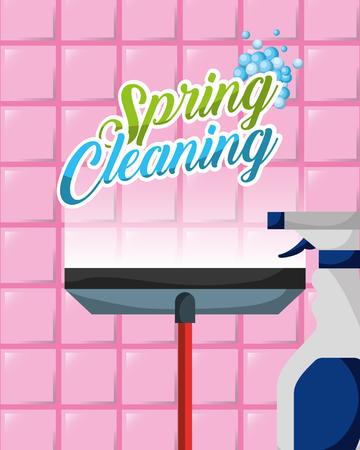 glass scraper and detergent spray spring cleaning vector illustration Illustration