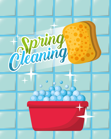 wall tile plastic basin foam sponge spring cleaning vector illustration