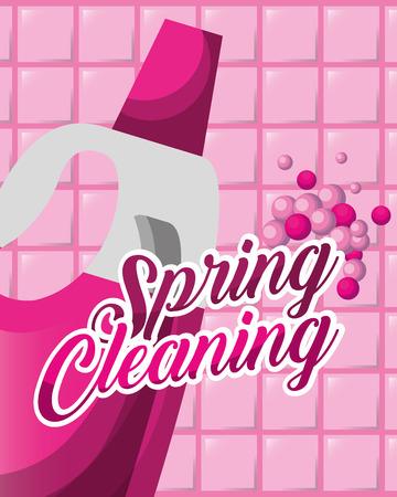 pink wall tile detergent bottle spring cleaning vector illustration Reklamní fotografie - 111977344
