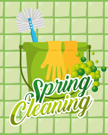 bucket gloves and toilet brush spring cleaning vector illustration Ilustração