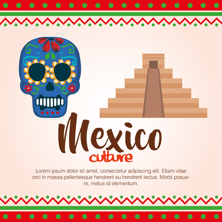 day of the dead mask with pyramid vector illustration