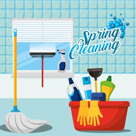 Escobilla de goma botella de spray guantes cubo émbolo fregona de jabón baño limpieza de primavera ilustración vectorial