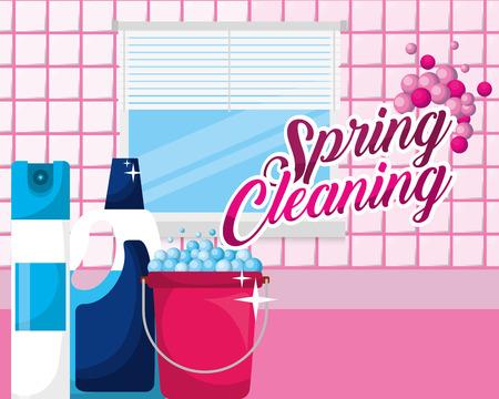Baño cubo ambientador detergente botella primavera limpieza ilustración vectorial Ilustración de vector
