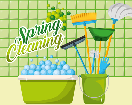 green basin and bucket mop broom dustpan squeegee glove spring cleaning vector illustration Standard-Bild - 111977349