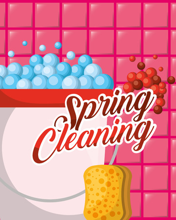 bucket and sponge bubbles spring cleaning vector illustration Illustration