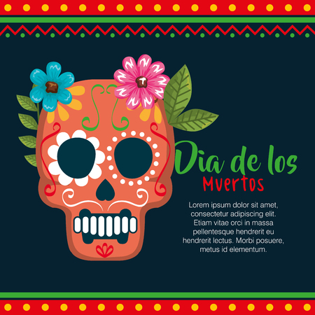 day of the dead mask with floral decoration vector illustration Foto de archivo - 111977351