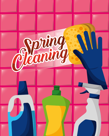 glove holds sponge detergent bottles spray spring cleaning vector illustration Stock Illustratie