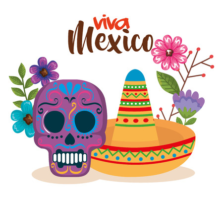 day of the dead mask with hat vector illustration Illustration