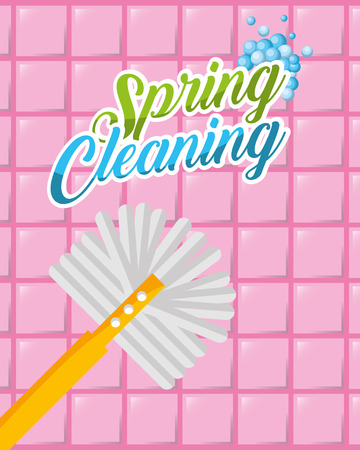 pink tiles toilet brush spring cleaning vector illustration Illustration