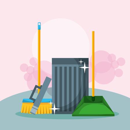 bidone della spazzatura aperto illustrazione vettoriale di pulizia scopa e paletta Vettoriali