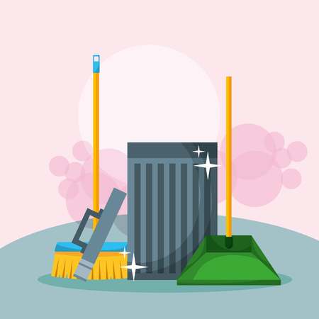open trash can broom and dustpan cleaning vector illustration