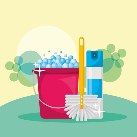 bucket foam spray can and brush cleaning vector illustration Illustration