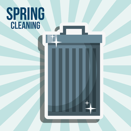 trash can garbage spring cleaning vector illustration
