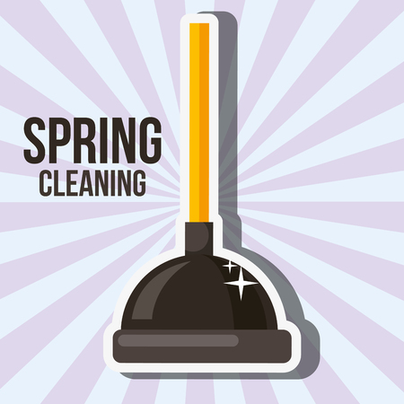 toilet plunger sanitary spring cleaning vector illustration