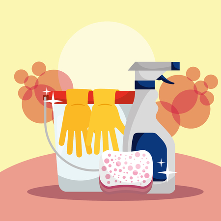 bucket rubber gloves spray detergent and sponge vector illustration