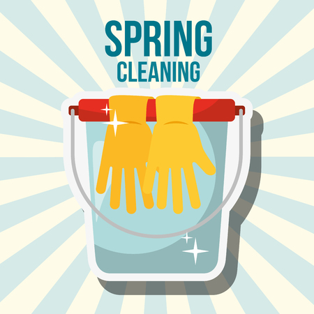 bucket and rubber gloves spring cleaning vector illustration