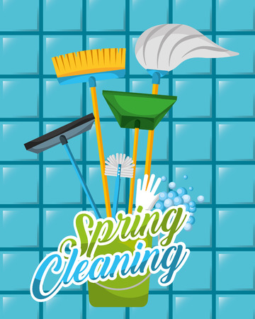 blue tiles bucket mop broom dustpan glass scraper spring cleaning vector illustration