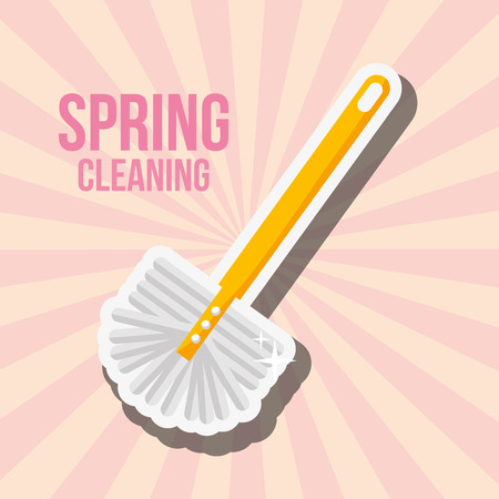 toliet brush tool spring cleaning vector illustration
