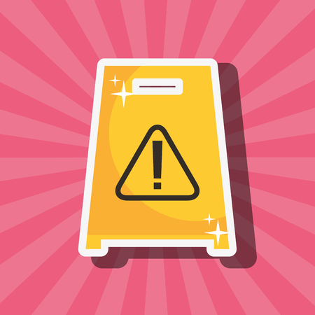 warning board alert danger icon spring cleaning vector illustration Ilustração