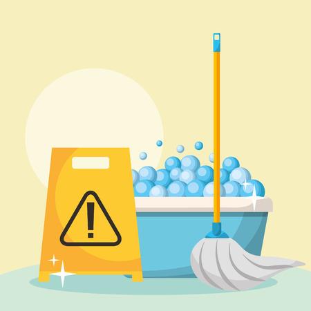Seau bulles vadrouille et panneau d'avertissement nettoyage vector illustration