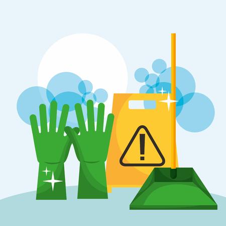 Gants en caoutchouc vert pelle à poussière et panneau d'avertissement nettoyage vector illustration