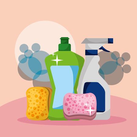 bottle detergent spray and sponges cleaning vector illustration  イラスト・ベクター素材