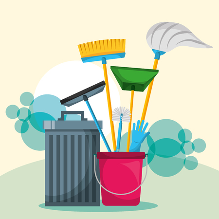 trash can bucket mop broom glove glass scraper and dustpan vector illustration Illustration