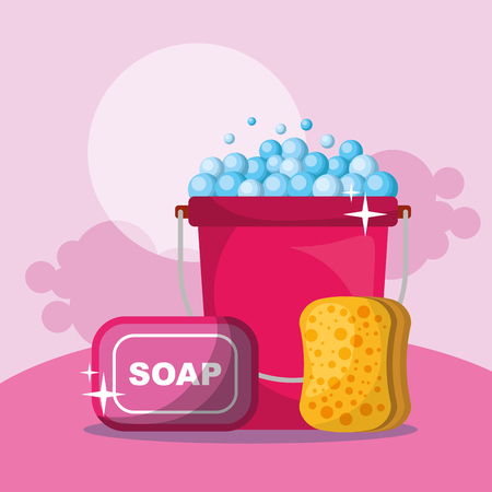 pink bucket soap and sponge bubbles cleaning vector illustration