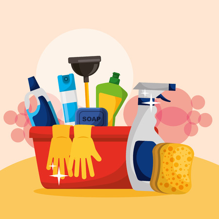 bucket with plunger soap gloves spray detergent and sponge cleaning vector illustration Stock Illustratie