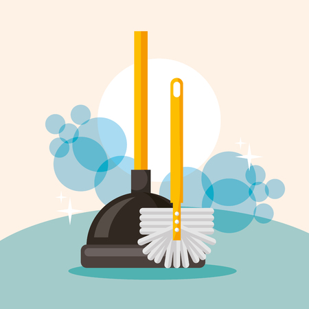 toilet plunger and brush cleaning vector illustration