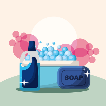 bucket soap bar and bottle detergent bubbles cleaning vector illustration 向量圖像