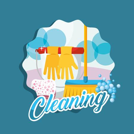 bucket gloves broom sponge cleaning vector illustration