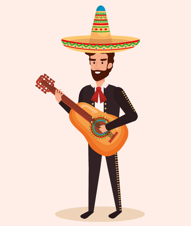mexican mariachi with guitar character vector illustration