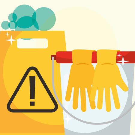 rubber gloves bucket and warning board cleaning vector illustration Foto de archivo - 111977380