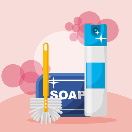 cleaning soap brush and spray can bubbles vector illustration
